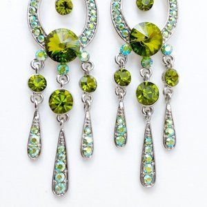 Prom Pageant Bridal Jewelry - Olivine AB Austrian Crystal Prom Pageant Earrings